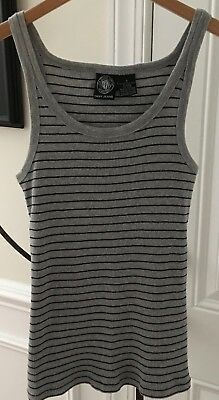 25f6de228b1742 Dkny Jeans Gray With Black Stripe Cotton Fine Rib Knit Stretch Tank Top Sz S