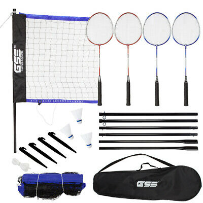 Outdoor Portable Complete Badminton Set with Net, 4 Rackets & 3 Shuttlecocks