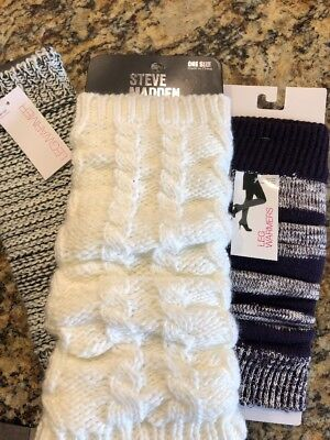 Ladies Lot of 3 Pair Cable Knit Leg Warmers Purple Mixed Black and White New