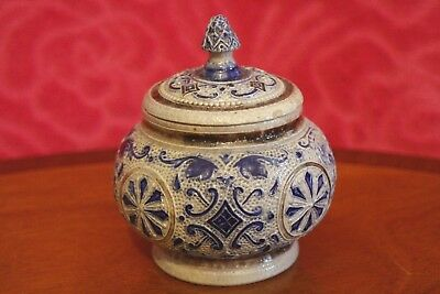 Antique German Westerwald Steinzeug pottery small  Jar with lid