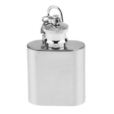 1oz Stainless Steel Hip Flask Liquor Pocket Container Flagon with Keychain