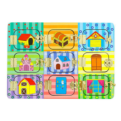 Lock Board Wooden Montessori Early Educational Toy Baby Child Christmas Gift