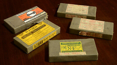 Antique glass camera photographic plates NOS Ilford Imperial magic lantern slide