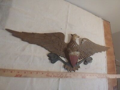 antique cast iron wall eagle huge plaque sign stamped back solid piece