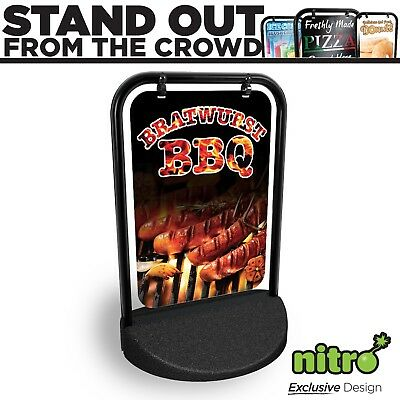 BBQ Bratwürst Swinging Pavement Sign Outdoor Display Shop A-Board Eco Swinger
