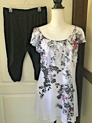 Ruffle Top 2 Pc Capris Set NWT SIze XL Resort-Wear NEW Sequin Accents X-Large