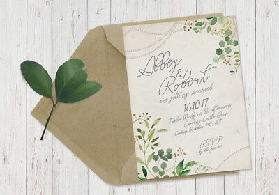 50 Pearl Shabby Chic Greenery Foliage Herb Eucalyptus Wedding Invitations!