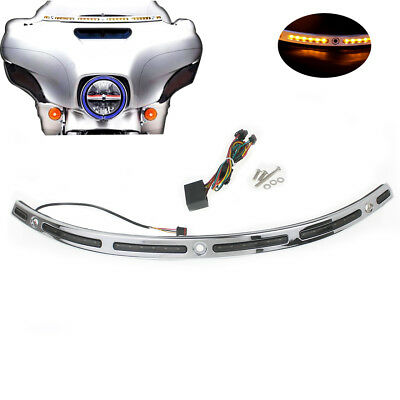 Windshield Trim w/ LED Light Chrome For Harley Touring Tri Electra Glide 14-18