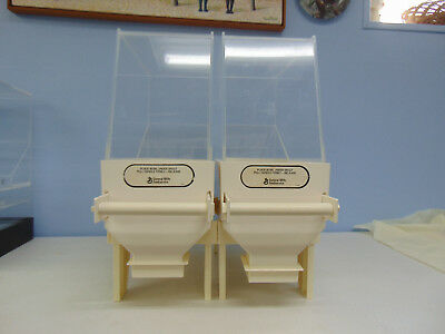 2 Commercial Acrylic / Plastic Cereal / Dry Food Dispensers Used non-adjustable