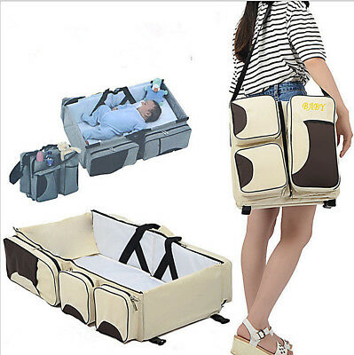 3 in 1 Baby Travel Bed Crib Diaper Bag Portable Folding Infant Multifunctional