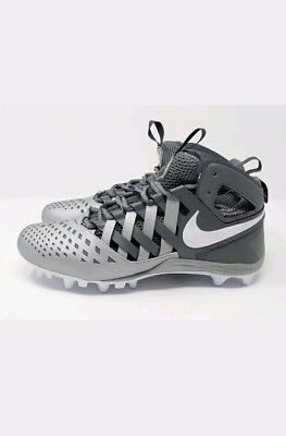 Nike Men HUARACHE V5 LAX Lacrosse Football Cleats Grey White 807142-010 Sz 12
