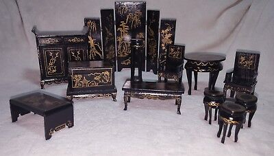 Vintage Chinese Miniature Dollhouse Furniture Set Gold Black Lacquer 12 Pieces