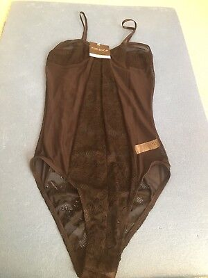 NWT TOPSHOP Ladies Black Lace Mesh Teddy Bodysuit Size: 8