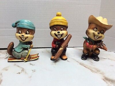 "Vintage chipmunks  figurines set of 3 Made in Japan 5"" tall"