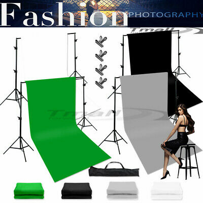 Photo Studio Black Screen White Green Backdrop Stand With Background Support Set