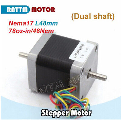 CNC Nema17 Stepper Motor 78oz-in Dual Shaft 48mm 1.8A for 3D Printer/CNC Router