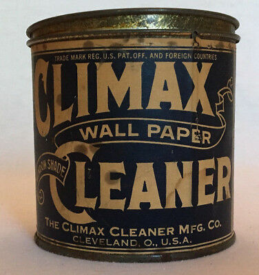 Climax Wall Paper Cleaner Advertising Tin Cleveland OH Window Shade Antique
