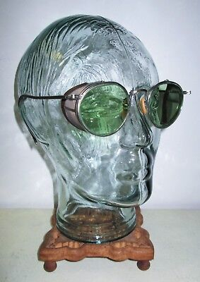 Antique Bausch & Lomb Green Ful Vue Safety Sunglasses Goggles Vtg Ray Ban Old BL