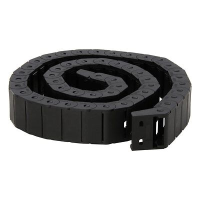15mm x 30mm Black Plastic Semi Closed Drag Chain Cable Carrier 1M, New