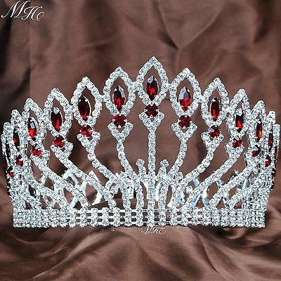 """Brides Wedding Tiara 4"""" Red Rhinestones Full Round Crown Pageant Party Costumes"""