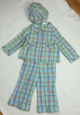 Vintage 1970s Merry Mites Young World Boys Jacket Hat Pants Suit Set Multi-Color