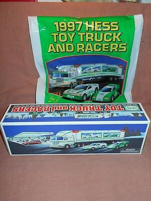 1997 Hess Toy Truck  TRUCK AND RACERS  NIB ABSOLUTELY PERFECT WITH ORIG BAG