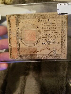 $60 Dollars 1779 Continental Currency in fair condition