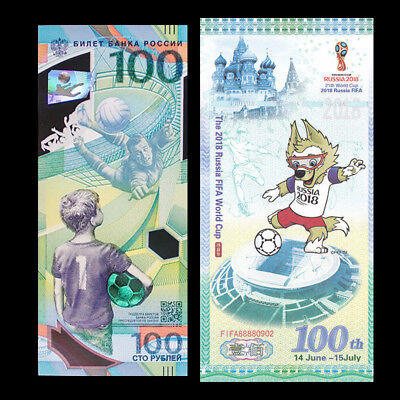 Set 2 PCS, The 2018 Russia FIFA World Cup, 100, Polymer+ Test Note, COMM. UNC