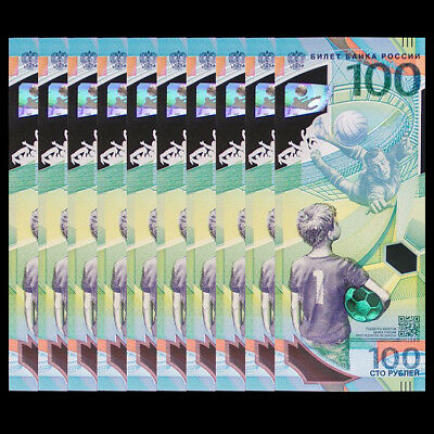 Lot 10 PCS, Russia 100 Rubles, FIFA World Cup, 2018, Polymer, 1/10 bundle, UNC