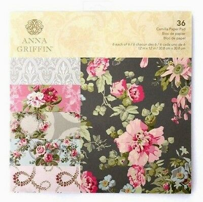 Anna Griffin Camilla Paper Pad 12x12 Scrapbooking Paper Floral