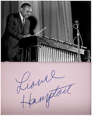 Hand SIGNED AUTOGRAPH Photo LIONEL HAMPTON Decorative MAT Vibraphone JAZZ Music