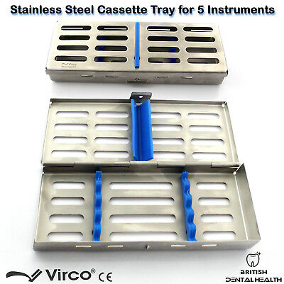 Stainless Tray Cassette for 5 Pcs Instruments Surgical Dental Implant Lab CE