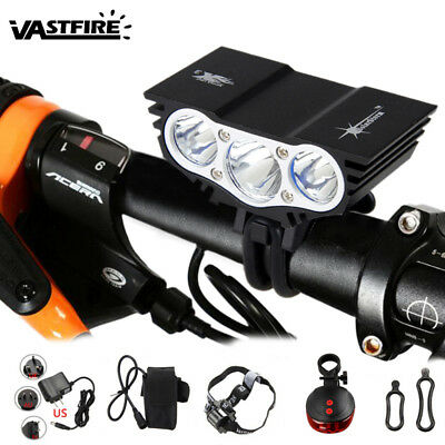10000Lm 3 x T6 LED Bicycle Lamp Bike Light Cycling Headlight Front Torch 4 Modes