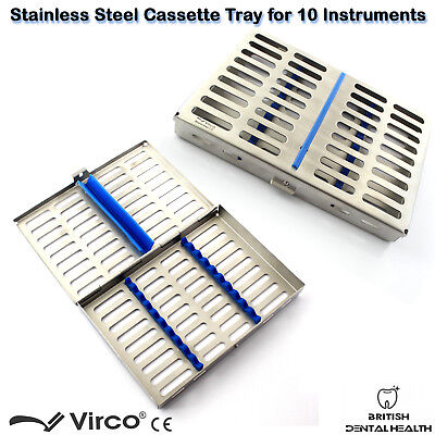 Stainless Tray Cassette for 10 Pcs Instruments Surgical Dental Implant Lab CE