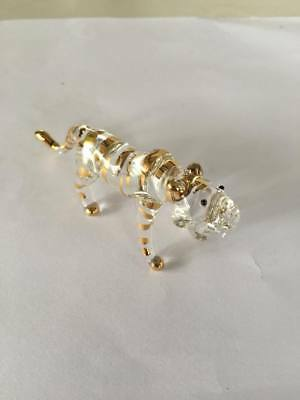 Miniature Gold Tiger Glass Blown animals figurine Art glass figurine Dollhouse