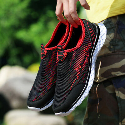Mens Casual Walking Outdoor Flats Sneakers  Breathable Mesh Slip On Water Shoes