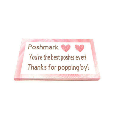 Poshmark Seller THANK YOU Business Cards 5 Five Star Feedback 50 Pink
