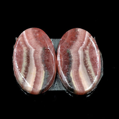 Cts. 31.10 Natural Rhodochrosite Matching Pair Cabochon Oval Exclusive Gemstone