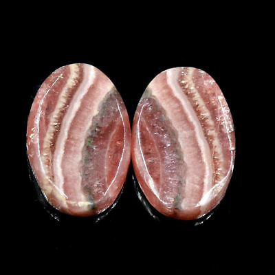 Cts. 30.80 Natural Rhodochrosite Matching Pair Cabochon Oval  Exclusive Gemstone