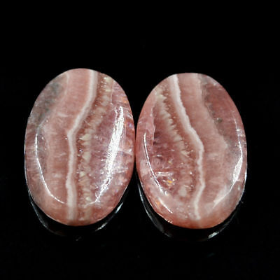 Cts. 22.20 Natural Rhodochrosite Matching Pair Cabochon Oval Cab Loose Gemstone