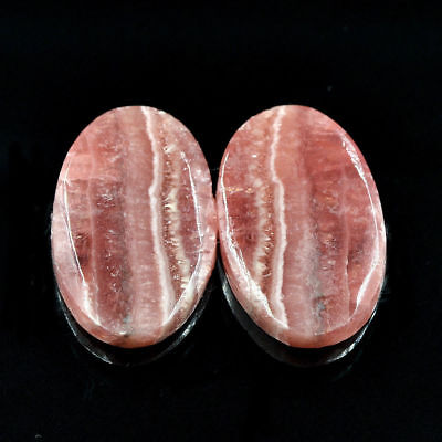Cts. 42.00 Natural Matching Pair Rhodochrosite Cabochon Oval Cab Loose Gemstone