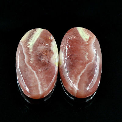 Cts. 34.65 Natural Rhodochrosite Matching Pair Cabochon Oval Exclusive Gemstone
