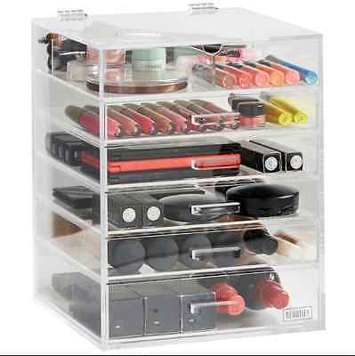 Beautify Large 6 Tier Clear Acrylic Cosmetic Makeup Organiser Drawers Case