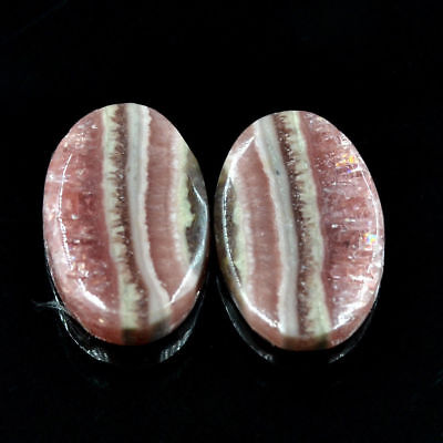 Cts. 21.65 Natural Rhodochrosite Matching Pair Cabochon Oval Exclusive Gemstone