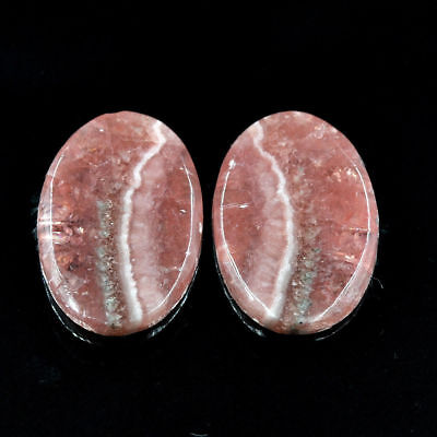 Cts. 19.55 Natural Rhodochrosite Matching Pair Oval Cabochon Loose Gemstone