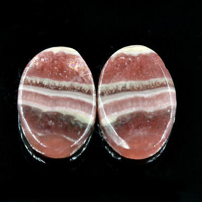 Cts. 20.50 Natural Rhodochrosite Matching Pair Cabochon Oval Loose Gemstone