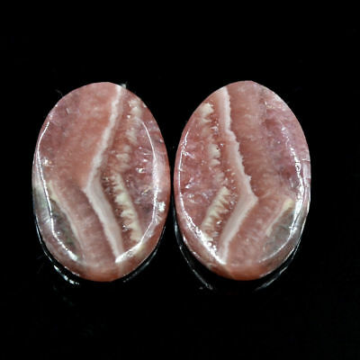 Cts. 18.45 Natural Matching Pair Rhodochrosite Cabochon Oval Gemstones