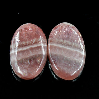 Cts. 15.05 Natural Rhodochrosite Cabochon Oval Matching Pair Gemstone