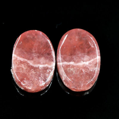Cts. 16.00 Natural Rhodochrosite Matching Pair Oval Cabochon Exclusive Gems