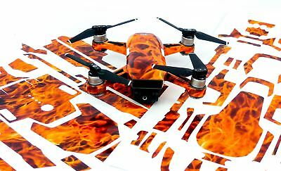 Fire n Flames Drone Decal Skin Wrap Stickers for DJI Spark, Mavic Air, Mavic Pro